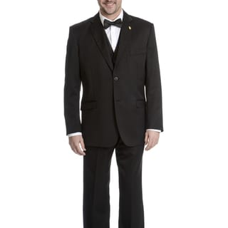 Falcone Men's Tonal Pattern 3-piece Black Tuxedo Suit