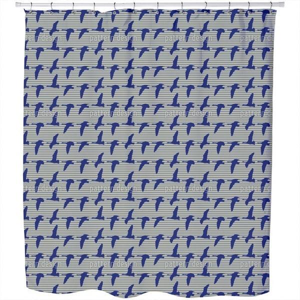Goose Blue Shower Curtain