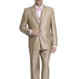 Falcone Men's 3-piece V-neck Tan Tuxedo
