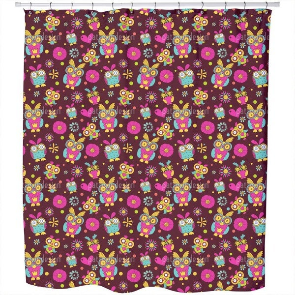 Owls in Chocolate Shower Curtain