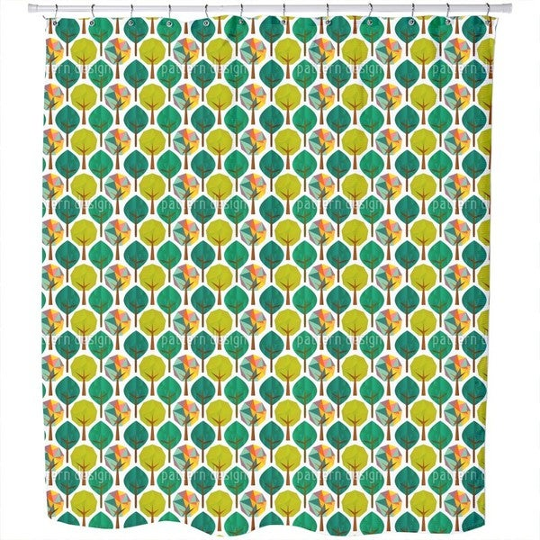 Geometric Trees Shower Curtain