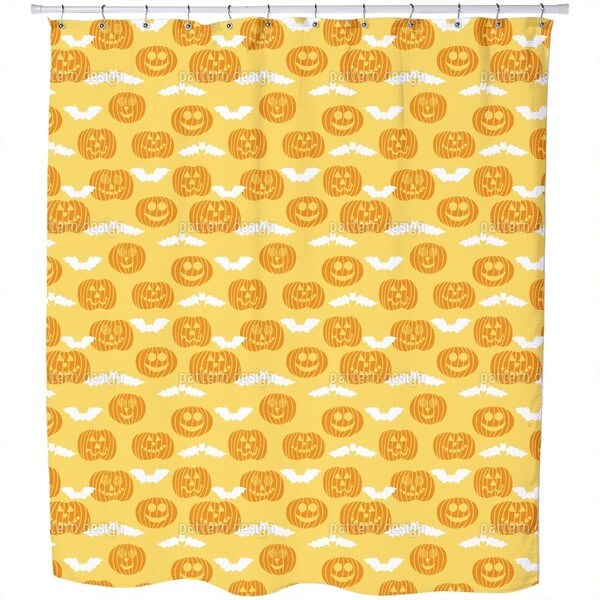 Jack O Lantern and Bat Shower Curtain