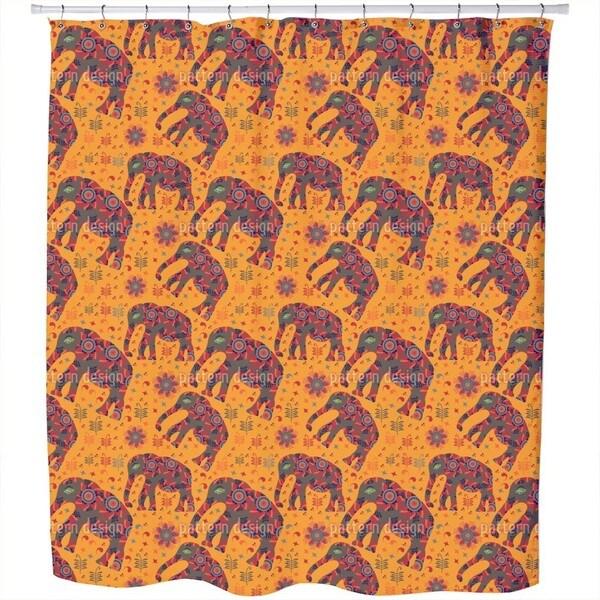 Indian Elephant Mountain Hike Shower Curtain