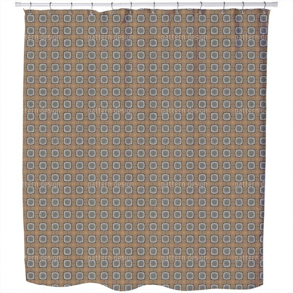 Octagons On Gold Shower Curtain