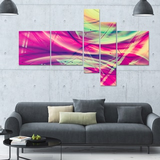Designart 'Pink and Yellow Vintage' 63x36 Modern Wall Art - 5 Panels