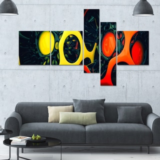 Designart 'Orange and Yellow GeoArt 63x36 Modern Wall Art - 5 Panels