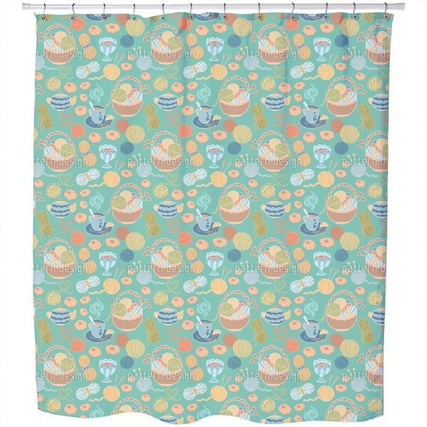 Knitting with Love Shower Curtain