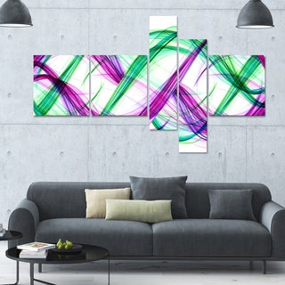 Designart 'Green and Purple Tango' 63x36 Modern Wall Art - 5 Panels
