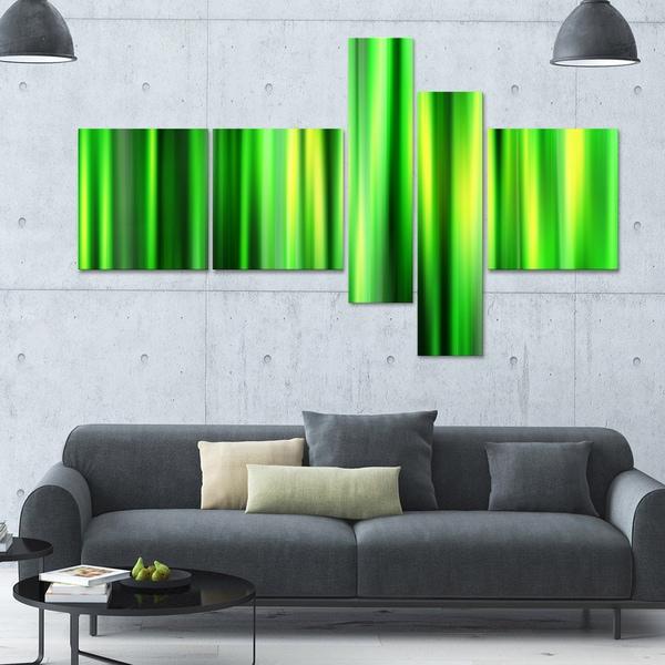 Designart ' Bamboo' 63x36 Modern Wall Art - 5 Panels - Green