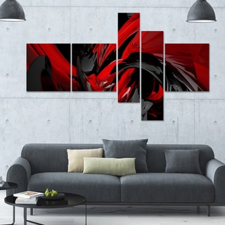 Designart 'Red and Grey Mixer' 63x36 Abstract Wall Art - 5 Panels