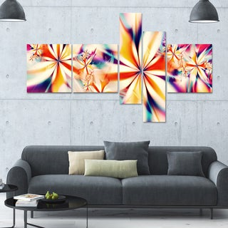 Designart 'Crystalize Pink Floral' 63x36 Large Abstract Canvas Art Print - 5 Panels