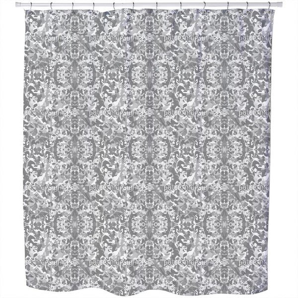 In and Out Grey Shower Curtain