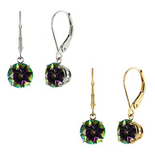 10k White Gold or Yellow Gold 8mm Round Mystic Topaz Leverback Dangle Earrings