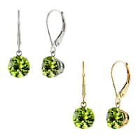 10k White Gold or Yellow Gold 8mm Round Peridot Leverback Dangle Earrings