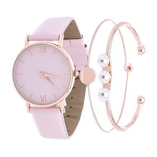 Fortune NYC Arm Candy Ladie's Fashion Rose Case / Pink Leather Strap Watch with a Set of 2 Bracelets