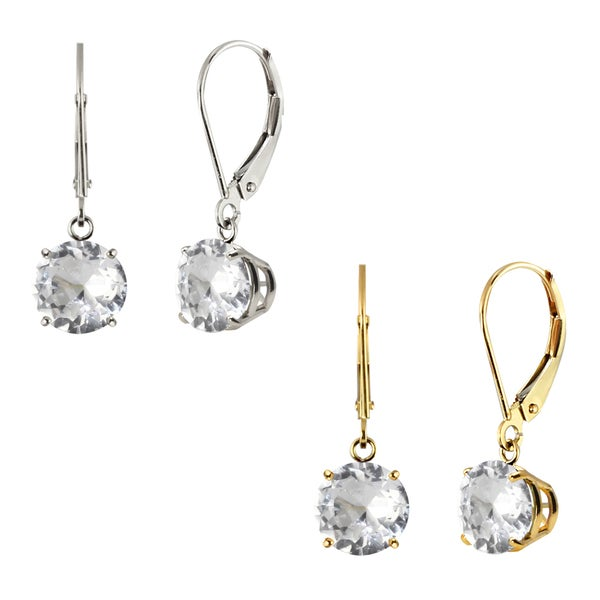 10k White Gold or Yellow Gold 8mm Round Genuine White Topaz Leverback Dangle Earrings