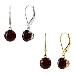 10k White Gold or Yellow Gold 8mm Round Garnet Leverback Dangle Earrings