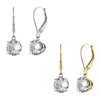 10k White Gold or Yellow Gold 8mm Round Lab-Created White Sapphire Leverback Dangle Earrings