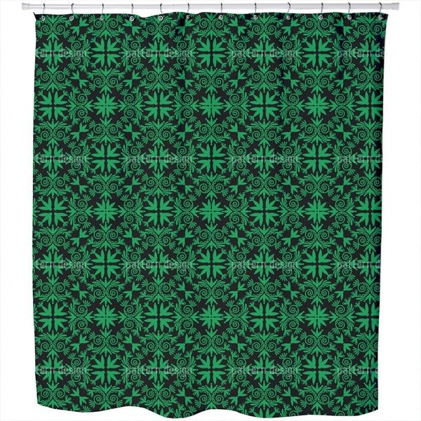 Green Folk Shower Curtain