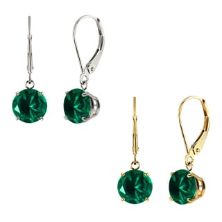 10k White Gold or Yellow Gold 8mm Round Created Emerald Leverback Dangle Earrings