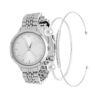 Fortune NYC Arm Candy Ladie's Fashion Silver Case Watch with a Set of 2 Bracelets