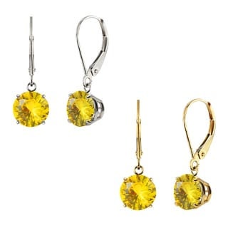 10k White Gold or Yellow Gold 8mm Round Lab-Created Yellow Sapphire Leverback Dangle Earrings