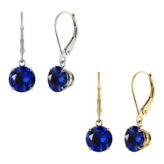 10k White Gold or Yellow Gold 8mm Round Created Blue Sapphire Leverback Dangle Earrings