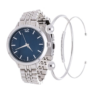 Fortune NYC Arm Candy Ladie's Fashion Silver Case / Blue Dial Watch with a Set of 2 Bracelets