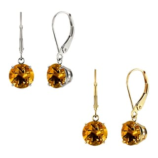 10k White Gold or Yellow Gold 8mm Round Citrine Leverback Dangle Earrings