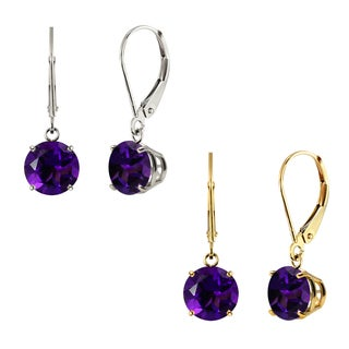 10k White Gold or Yellow Gold 8mm Round Amethyst Leverback Dangle Earrings