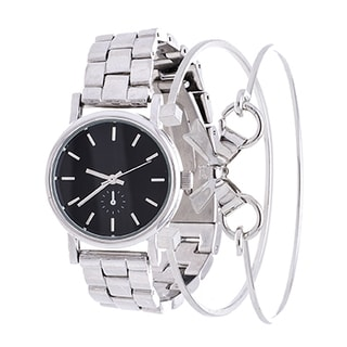 Fortune NYC Arm Candy Ladie's Fashion Silver Case / Black Dial Watch with a Set of 2 Bracelets