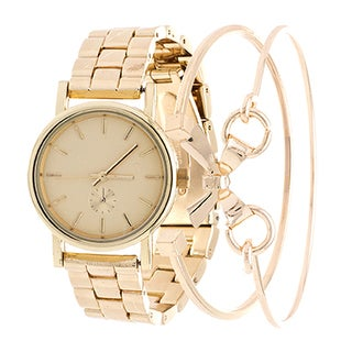 Fortune NYC Arm Candy Ladie's Fashion Gold Case and Dial Watch with a Set of 2 Bracelets
