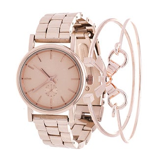 Fortune NYC Arm Candy Ladie's Fashion Rose Gold Watch with a Set of 2 Bracelets