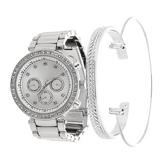 Fortune NYC Arm Candy Ladie's Fashion Silver CZ Watch with a Set of 2 Bracelets