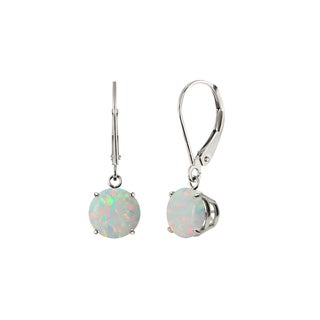 Sterling Silver 8mm Round Created Opal Leverback Dangling Earrings