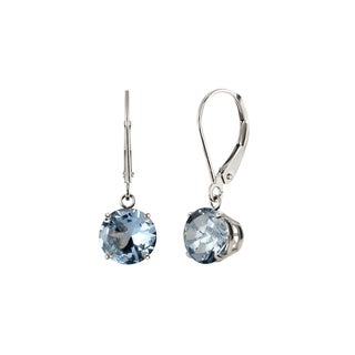 Sterling Silver 8mm Round Created Aquamarine Leverback Dangling Earrings