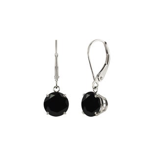 Sterling Silver 8mm Round Black Onyx Leverback Dangling Earrings