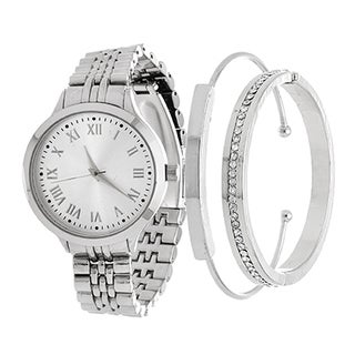 Fortune NYC Arm Candy Ladie's Fashion Silver Watch with a Set of 2 Bracelets
