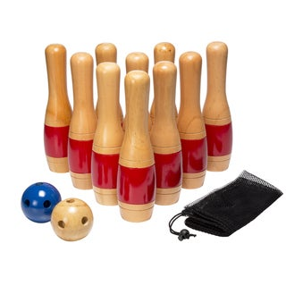 Hey! Play! 11 Inch Wooden Lawn Bowling Set - Red - 11 Inches