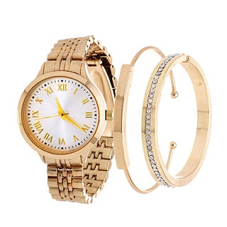 Fortune NYC Arm Candy Ladie's Fashion Gold Case / Silver Dial Watch with a Set of 2 Bracelets