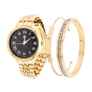 Fortune NYC Arm Candy Ladie's Fashion Gold Case / Black Dial Watch with a Set of 2 Bracelets