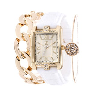 Fortune NYC Arm Candy Ladie's Fashion Gold Square Case / White Rubber Strap Watch with a Set of 2 Bracelets
