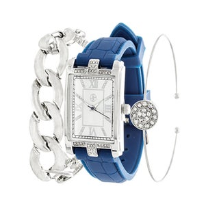 Fortune NYC Arm Candy Ladie's Fashion Silver Square Case / Blue Rubber Strap Watch with a Set of 2 Bracelets