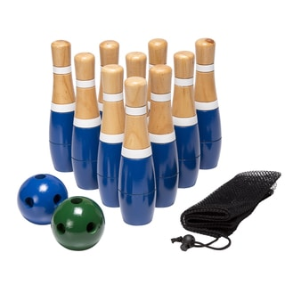 Hey! Play! 8-inch Wooden Lawn Bowling Set - Blue - 8 Inches