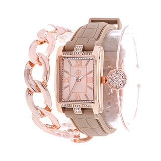 Fortune NYC Arm Candy Ladie's Fashion Rose Square Case / Beige Rubber Strap Watch with a Set of 2 Bracelets