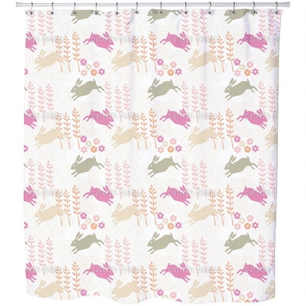 Funny Bunny Hop Shower Curtain