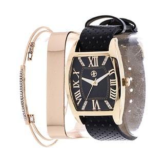 Fortune NYC Arm Candy  Ladie's Fashion Gold Square Case / Black Leather Strap Watch with a Set of 2 Bracelets
