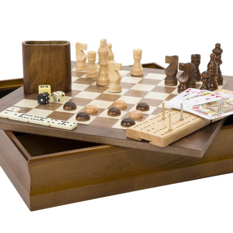 Hey! Play! 7-in-1 Classic Combo Game - Chess-Checkers-Cribbage & More