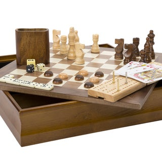 Hey! Play! 7-in-1 Classic Combo Game - Chess-Checkers-Cribbage & More - Multi