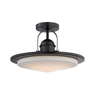 Alico Montebello 1-light LED Semi Flush in Oiled Bronze and Opal Glass